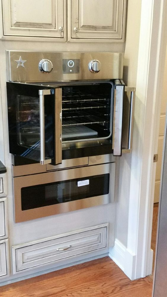 What you see is a BlueStar wall oven with French doors to provide easy access to your wall oven creations without having to reach over a hot door. & What you see is a BlueStar wall oven with French doors to provide ...