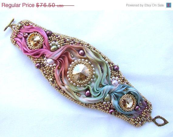 SUMMER SALE Shibori KIT and Tutorial, Bead Embroidery Bracelet Kit, Shibori Ribbon Jewelry Kit