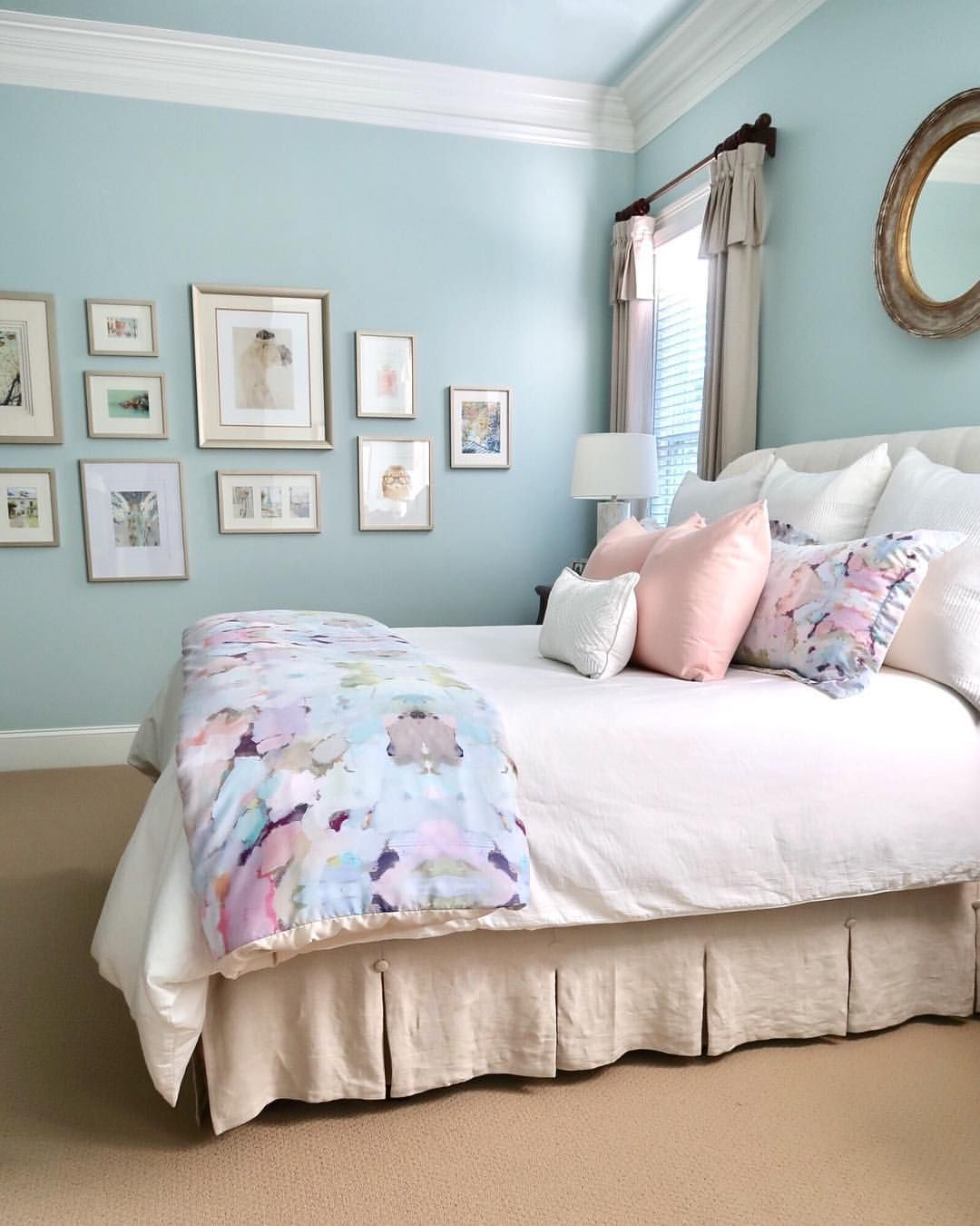 My soft and serene bedroom. Watercolor bedding, blush pink pillows