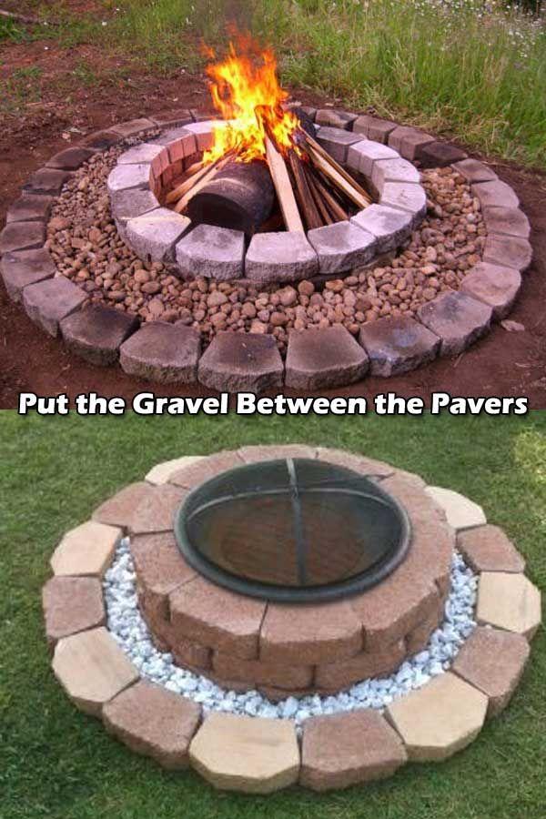 30 großartige DIY Ideen um aus ein paar Pflastersteinen eine schöne Feuerstelle günstig zu bauen #diyfirepit