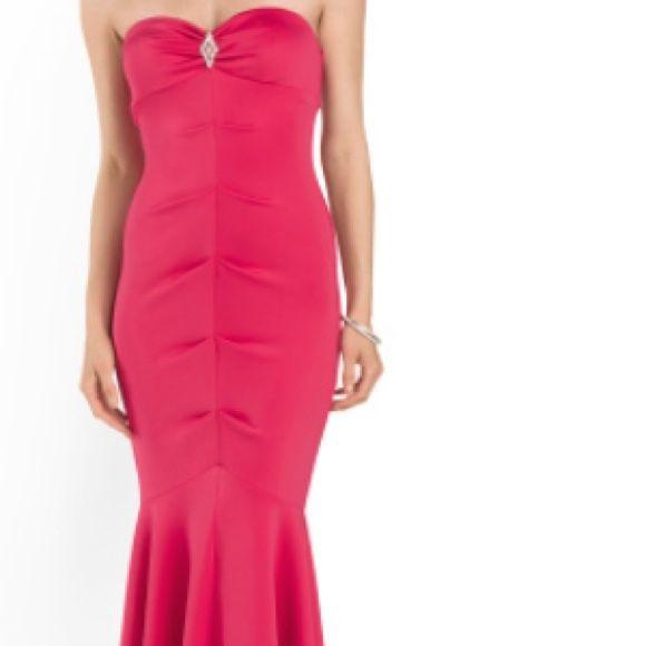 Long dress Long, scuba styled, fushia, strapless, jeweled detail, sweetheart neckline, gorgeous! Xscape Dresses Strapless