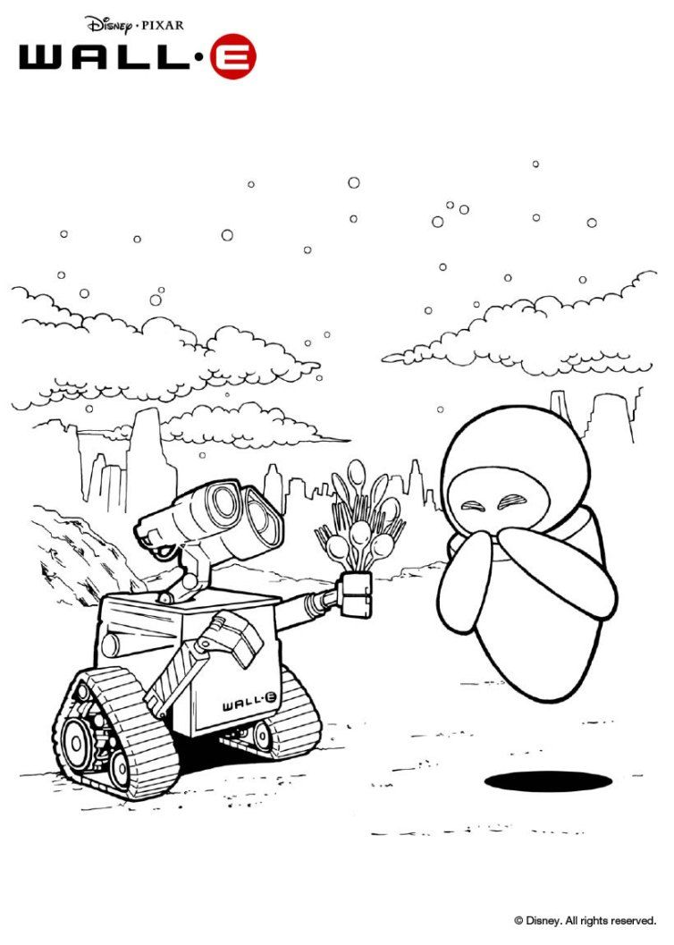 Wall E And Eve Coloring Page Wall E Coloring Pages Wall E Eve