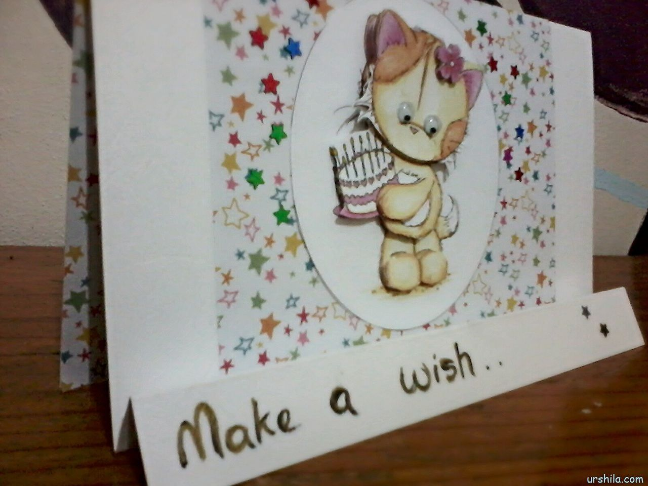 make a wish handmade birthday card using 3d picture assembling