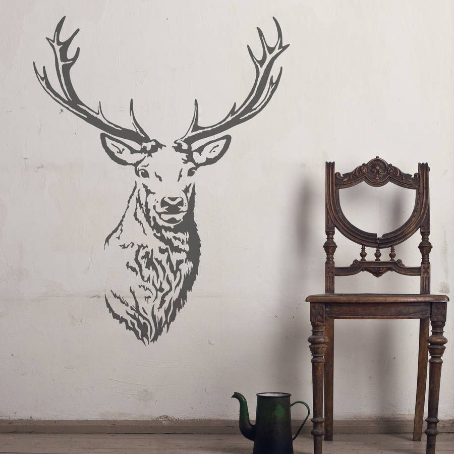 Nursery Design Stag Head Wall Art Silver Painting Personalized ...