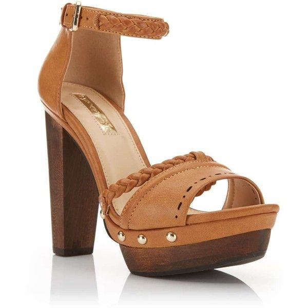 c1a6ca68a2 Miss Selfridge FLEUR Tan Wood Heel Sandal ($80) ❤ liked on Polyvore  featuring shoes, sandals, tan, wood shoes, synthetic shoes, miss selfridge  shoes, ...