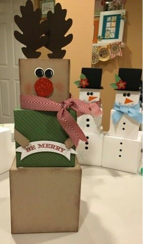 Stacked-gifts snowmen and reindeer #christmascrafts
