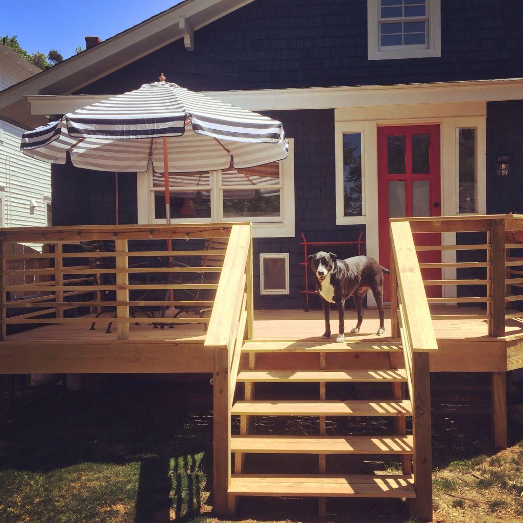 My new backyard deck with horizontal railings. Deck
