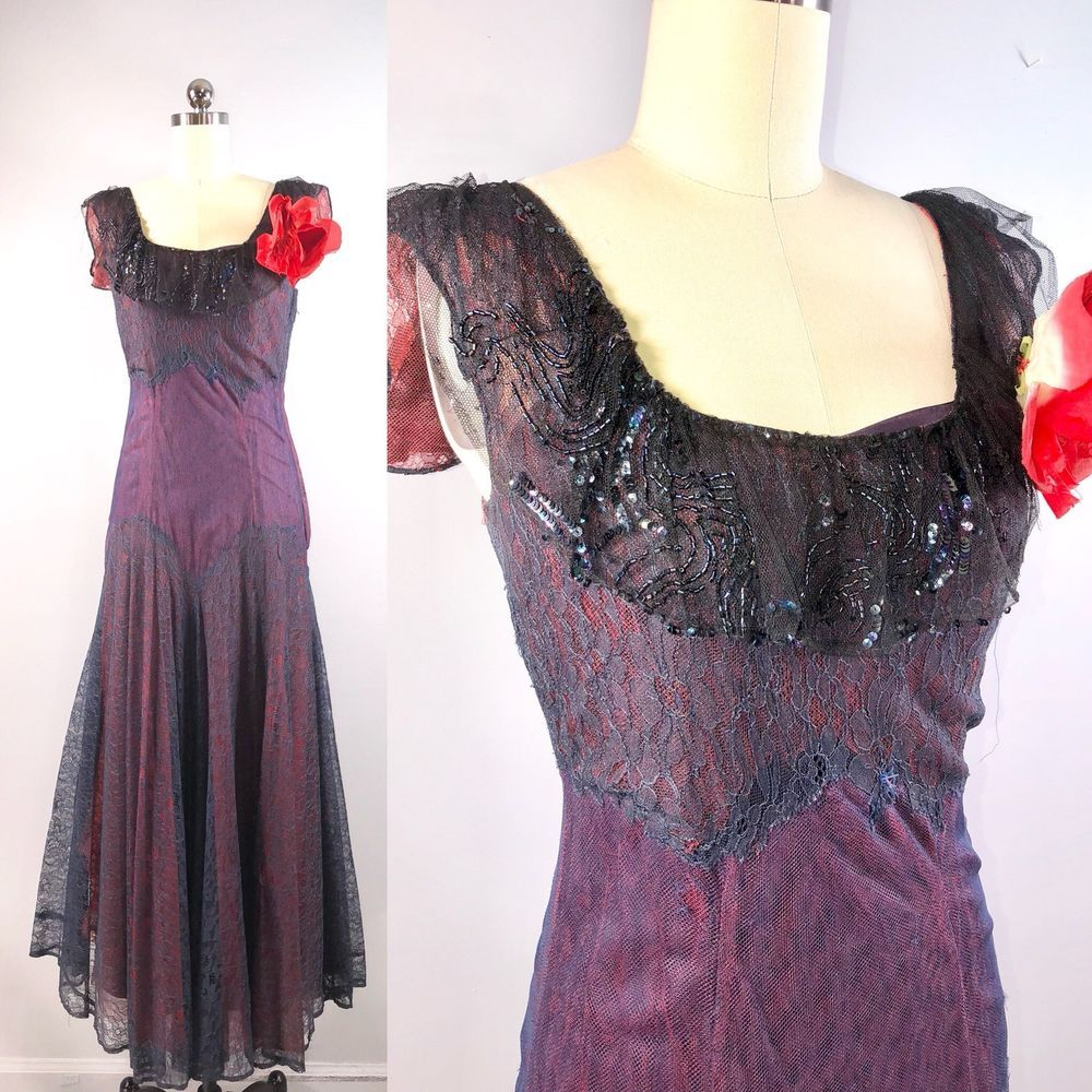 S vintage s purple lace gown dress prom party formal bust