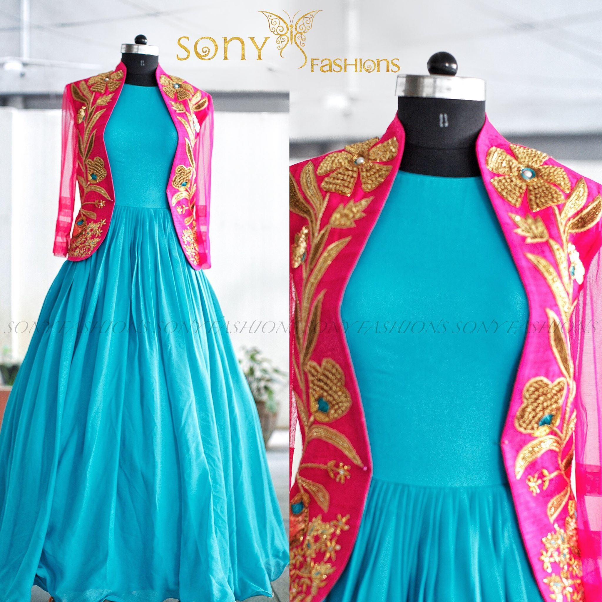 Beauty of bundles on threads that come together and create Pure Magic. Beautiful powder blue floor length gown and pink color over coat with hand embroidery gold thread work.
