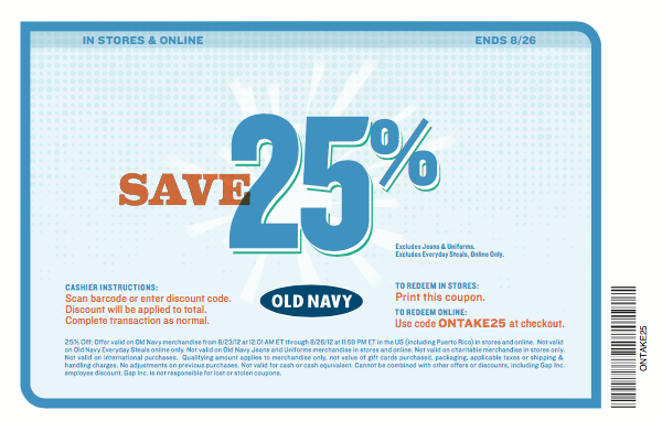 graphic about Old Navy Printable Coupon known as Aged Army Late June Coupon codes Printable Discount coupons On-line Artwork