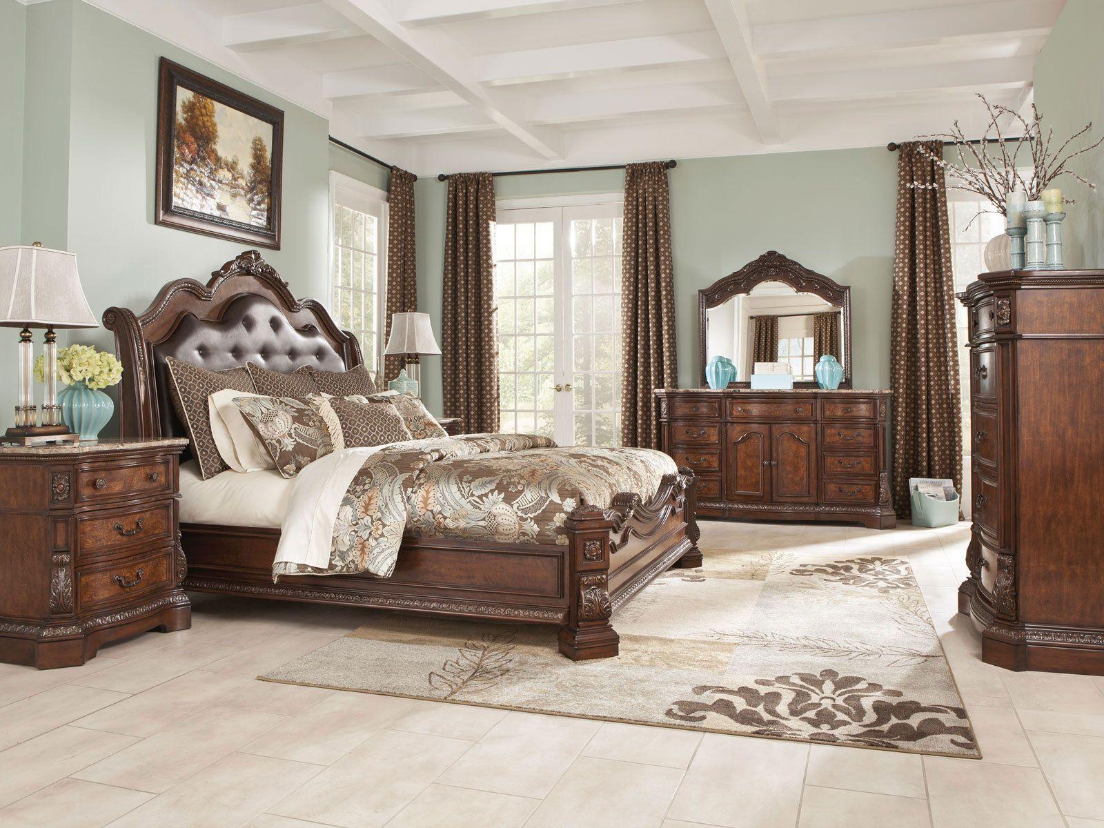Ashley Furniture B705 Ledelle-Queen King Sleigh Bed Frame Bedroom ...