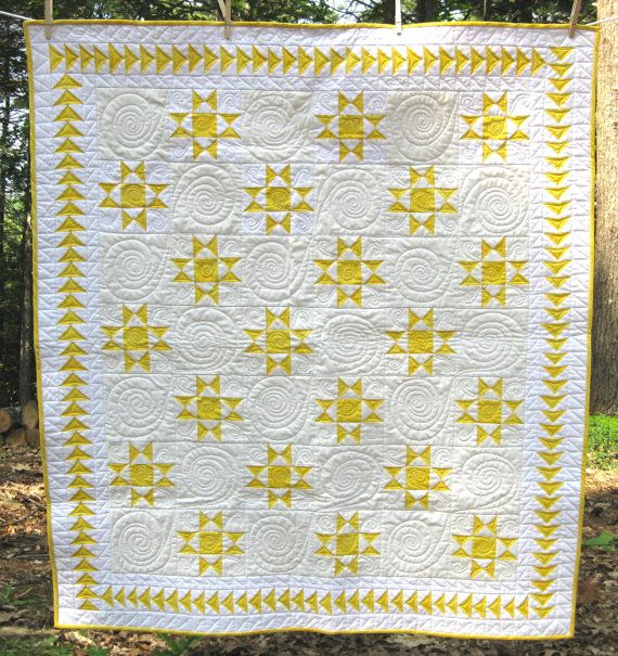 The Rising Stars Quilt Is Made Of Crisp Yellow And White Ohio Star Blocks With An Intricate Flying Geese Border A Generou Quilts Quilting Crafts Yellow Quilts
