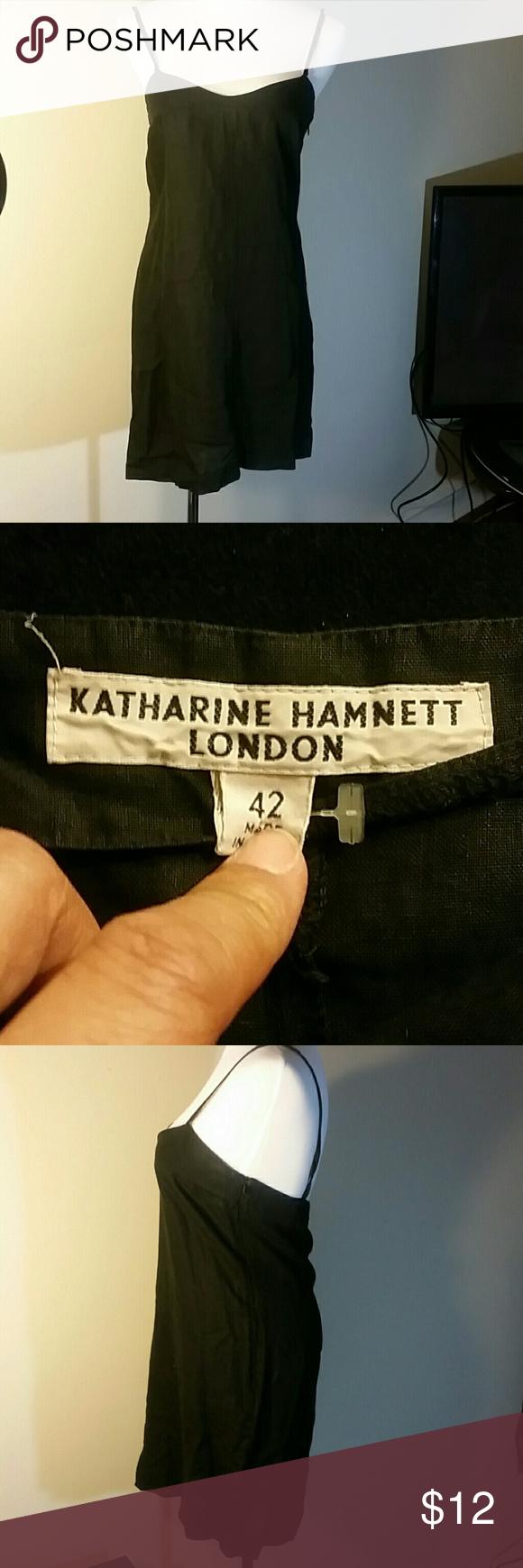 100% Linen dress Black spaghetti strap dress European 42 Katharine Hamnett Dresses Mini