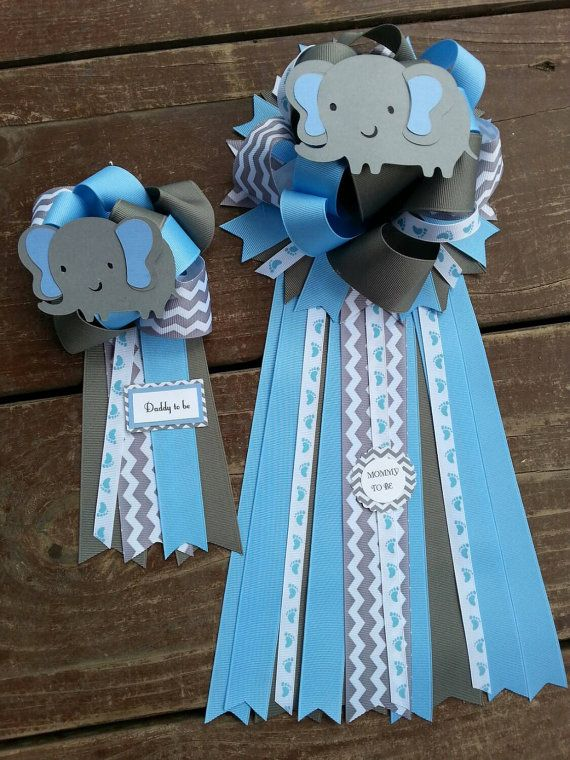 Set Of Two Baby Shower Mom To Be And Dad To Be Elephant Baby Shower Ribbon