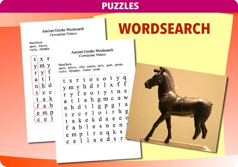 Use this Ancient Greeks wordsearch puzzle and a fun lesson