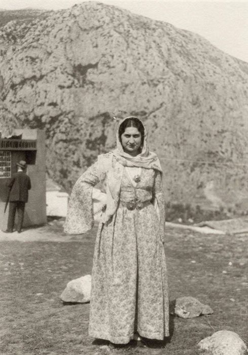 Virginia Romanou at the Delphic Festival of 1930. The Delphic Rock is visible behind her. Photo by Nelly's. Alexandros Romanos Archive Posted by Vivian Florou
