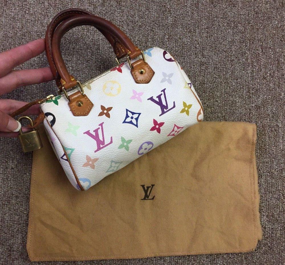 Authentic Louis Vuitton Murakami White And Multicolor Mini Speedy Lv Dust Bag Inside Of The Bag Cert White Louis Vuitton Bag Louis Vuitton Louis Vuitton Bag