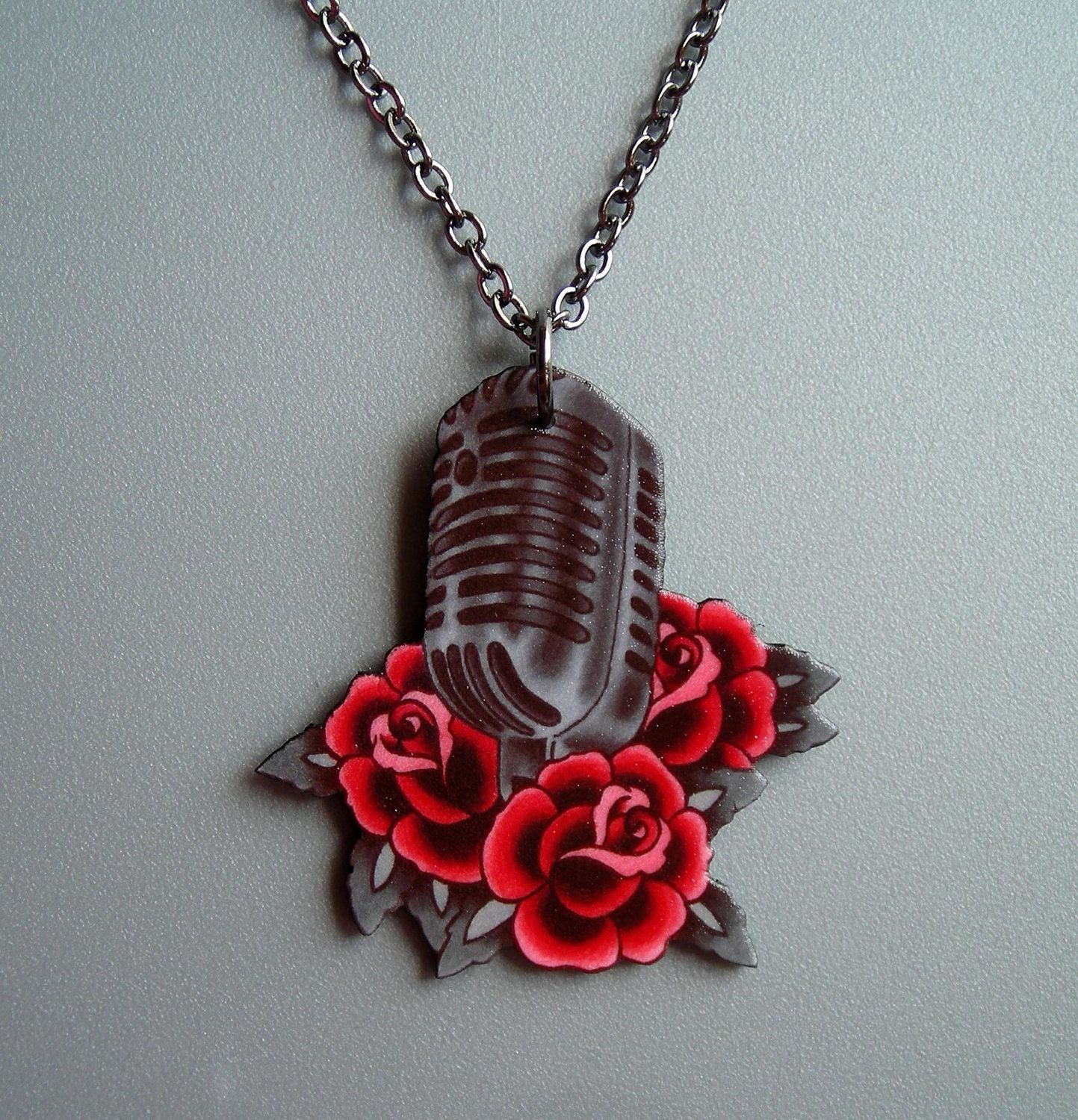 Vintage Microphone and Roses Necklace by theringleader on Etsy, $17.95