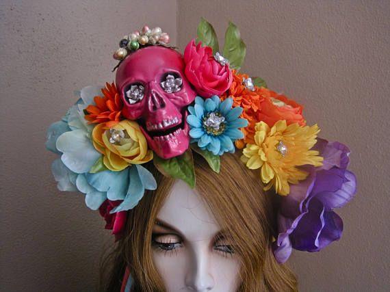 Rainbow Day of the Dead Sugar Skull Adults Headband Headdress Dia Muertos Veil