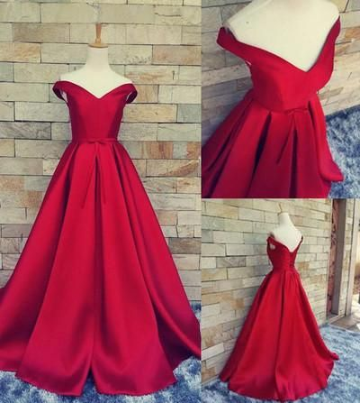simple ball gown off the shoulder sweetheart red satin