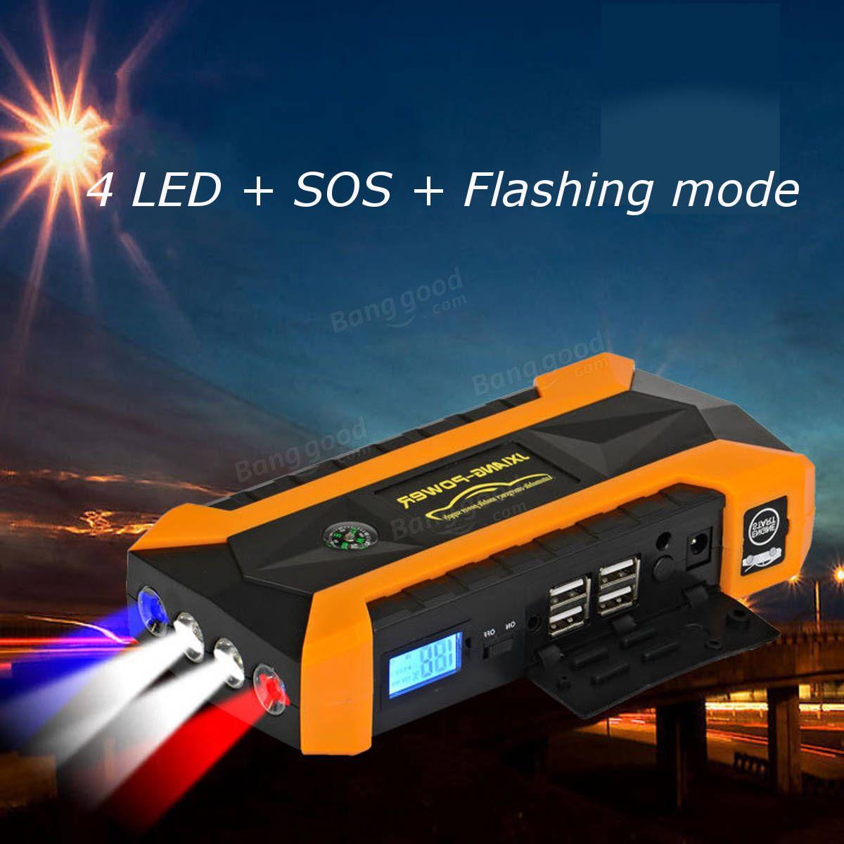 89800mah led car jump start starter 4 usb charger battery