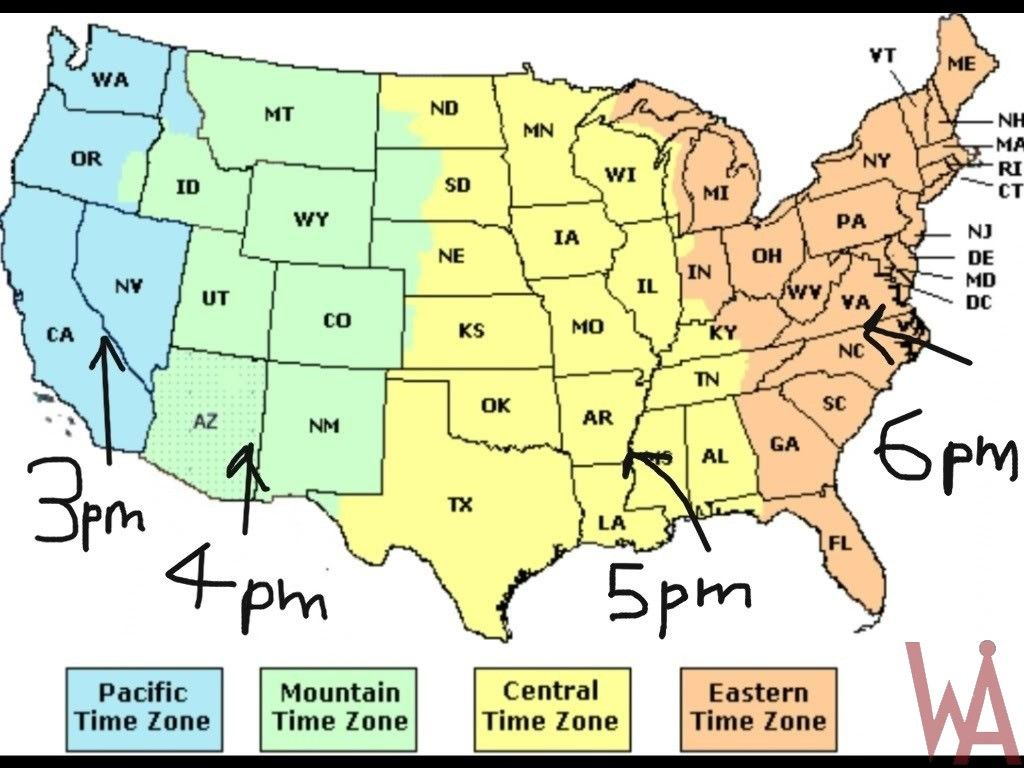 Time Zone Map Of The Usa With Time Different Time Zone Map Usa