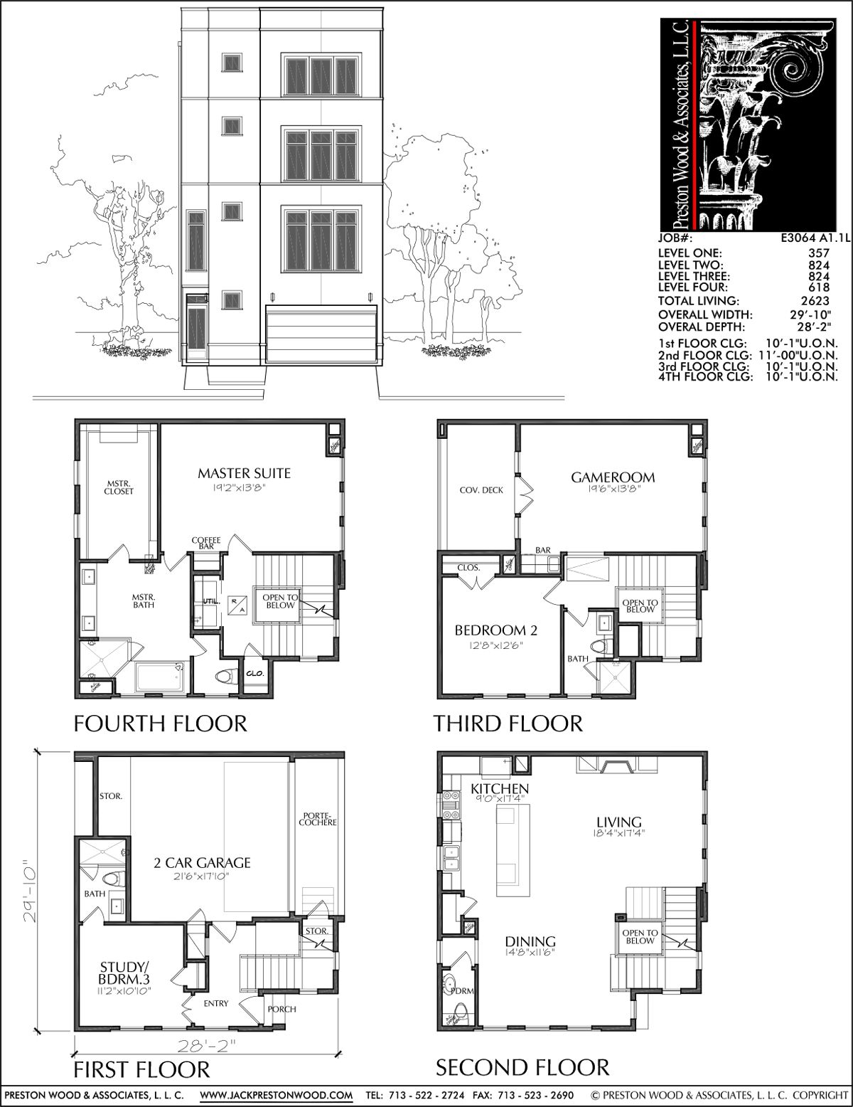 Townhome plan e3064 a1 1 r c h pinterest for Townhome layouts
