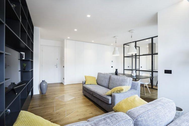 Raumteiler aus Glas stahl loft wohnzimmer holzboden grau sofa couch ...
