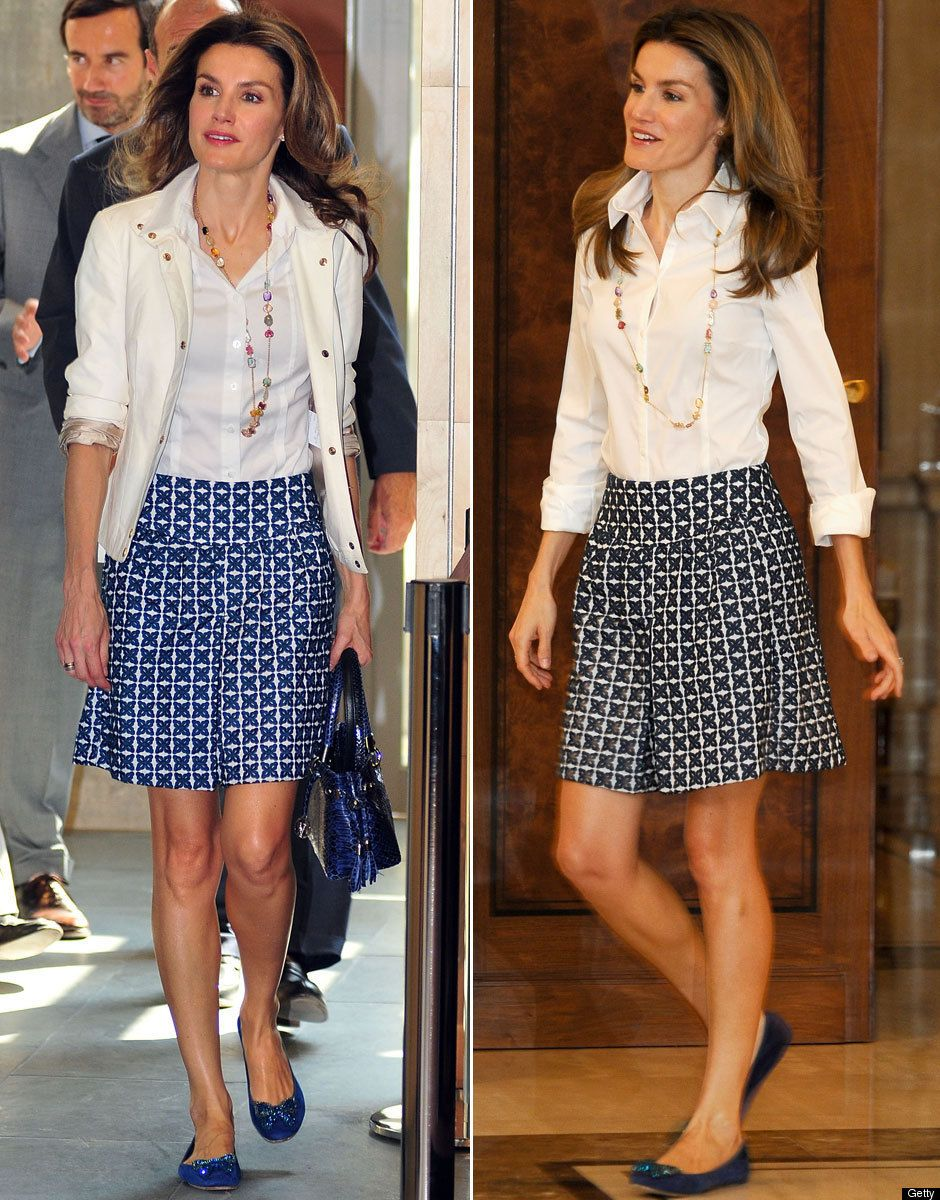 Google Image Result for http://i.huffpost.com/gen/181249/PRINCESS-LETIZIA.jpg Casual jacket with skirt