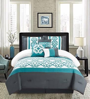 7 Pc CAL KING Teal Blue White Gray Floral Pleated Comforter Set