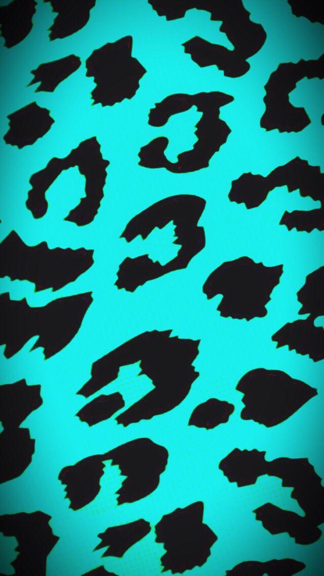 Cheetah blue teal turquoise black phone background