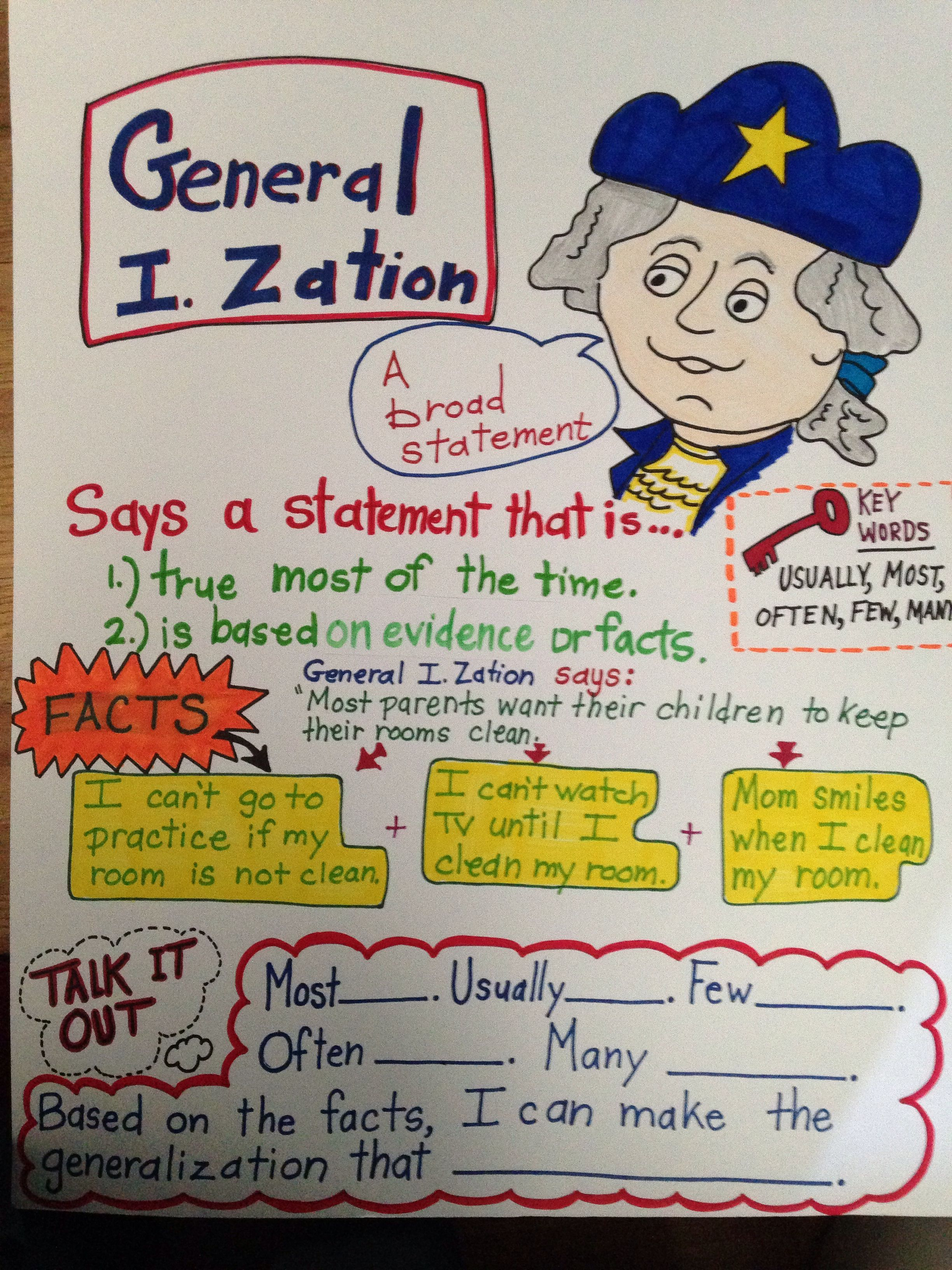 Generalization Reading Common Core Third Grade Anchor Chart Anchor Charts Nonfiction Texts Teaching Reading