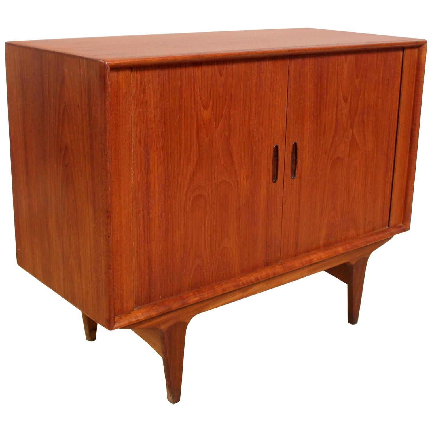 Danish Modern Teak Credenza With Tambour Doors