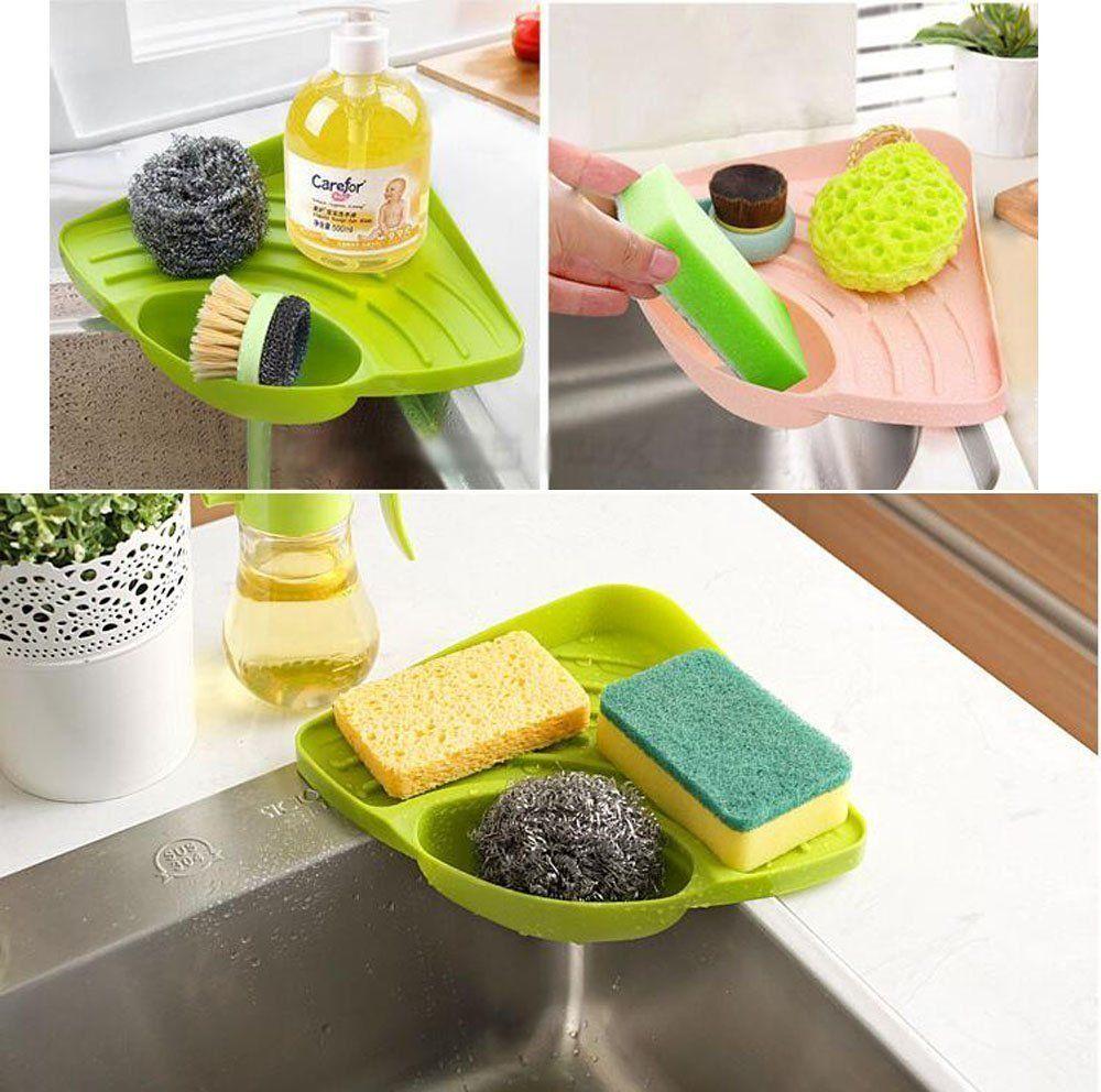 Kitchen Sink Caddy Sponge Holder Scratcher Cleaning Brush Organizer
