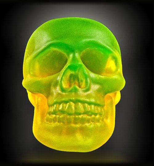 Phosphorescent glass skull