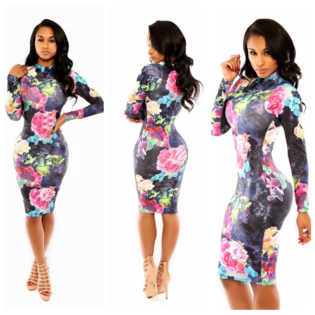 Women Elegant Novelty Flower print Bandage Vestidos Fashion Bodycon Evening Party vestidos de festa Casual Dress