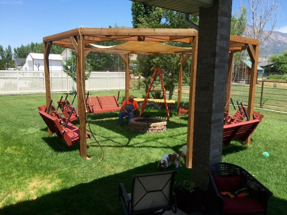 Diy Round Pergola With Swings Firepit And Shade Screen Featured