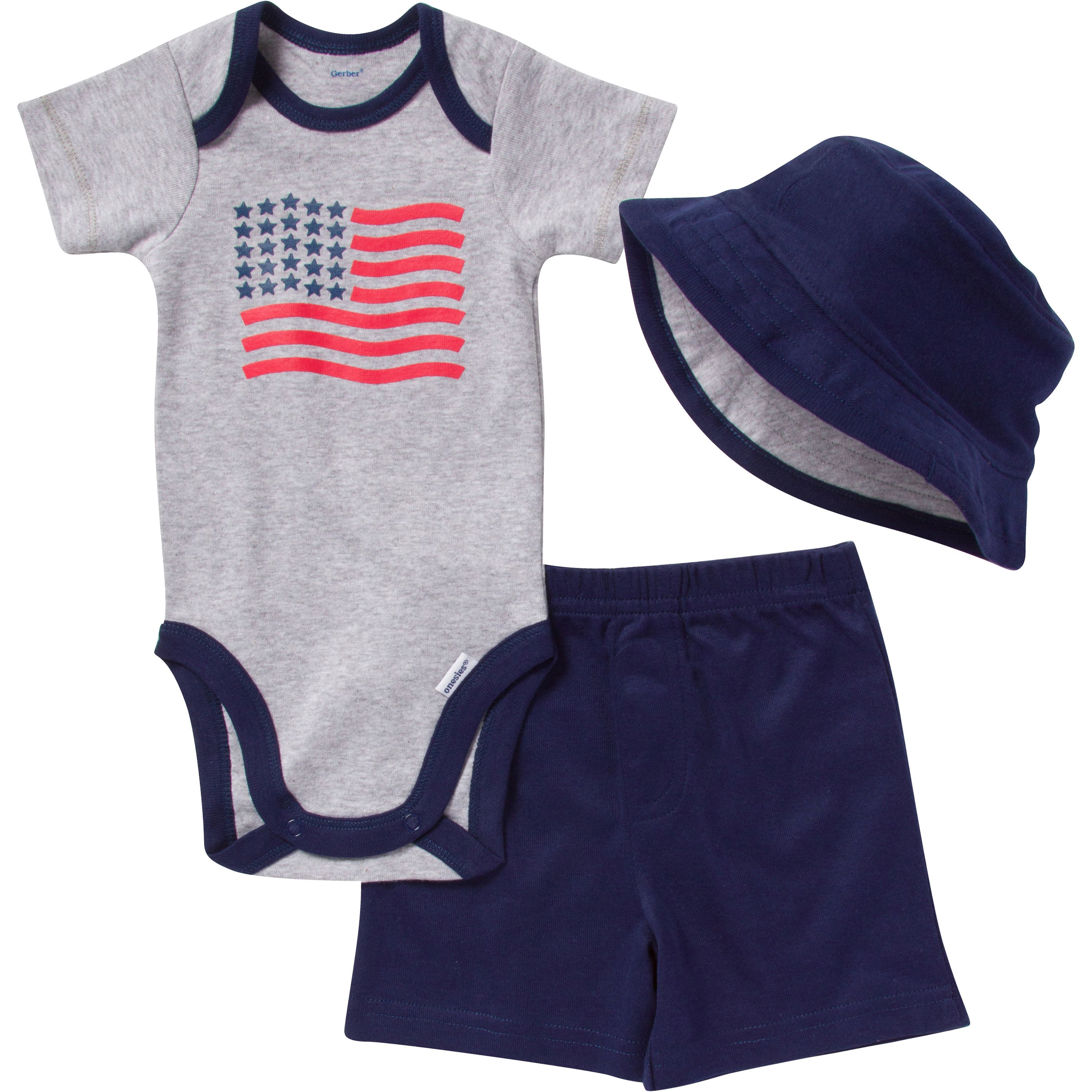 Baby boys will look very patriotic in this flag outfit perfect for