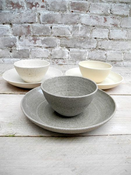 Dinner set small in Rock style - two pieces in grey with specks fine grogged. handthrown
