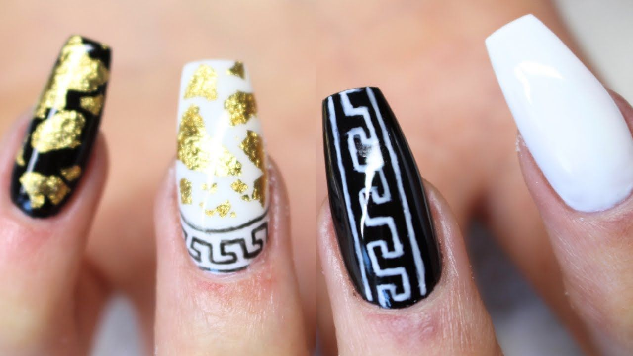 ♡ How to: Versace inspired Gelnails   Hand painted