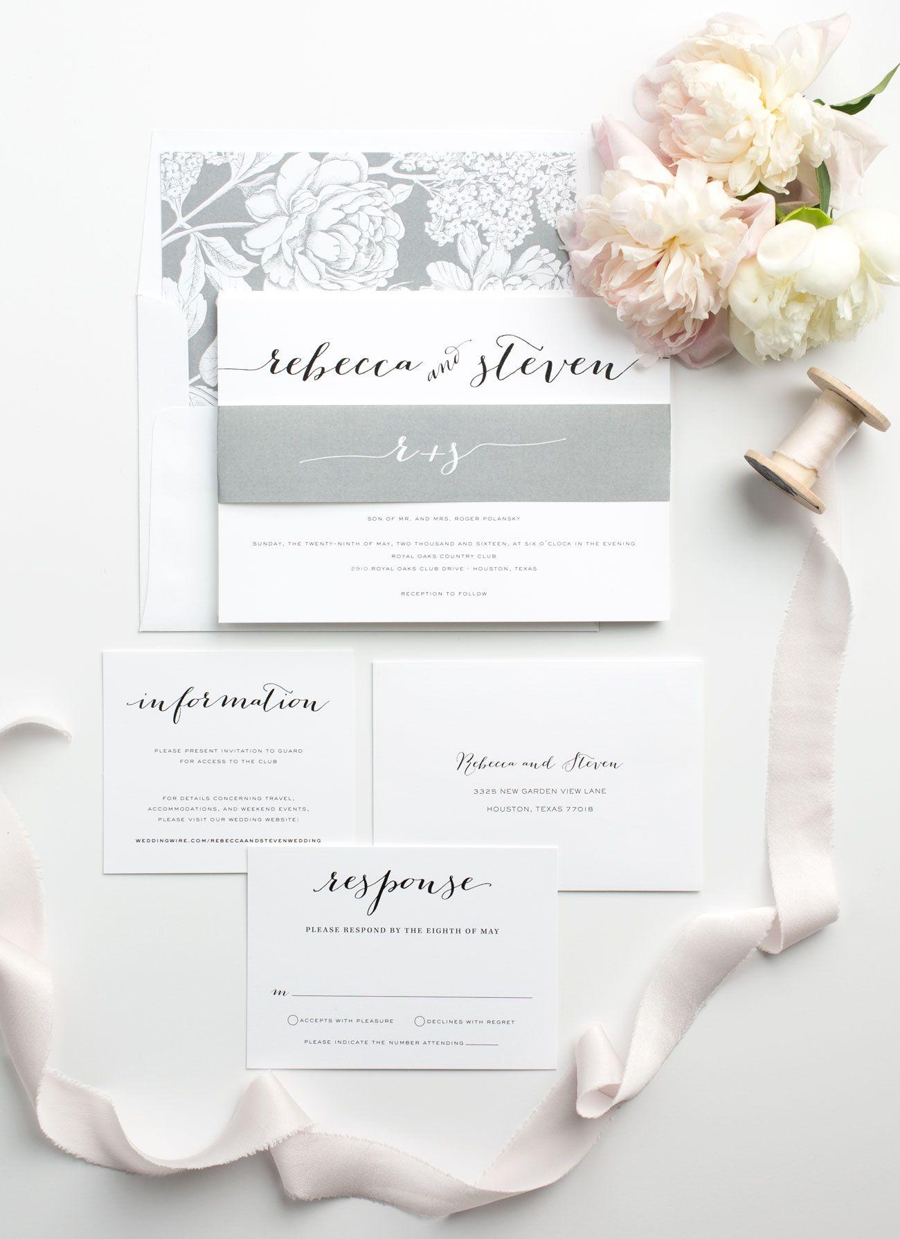 Script Wedding Invitations in Gray | Modern calligraphy, Shine ...