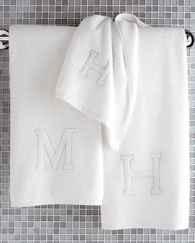 ND Matouk Auberge Monogrammed Hand Towel Auberge Monogrammed - Monogrammed hand towels for small bathroom ideas