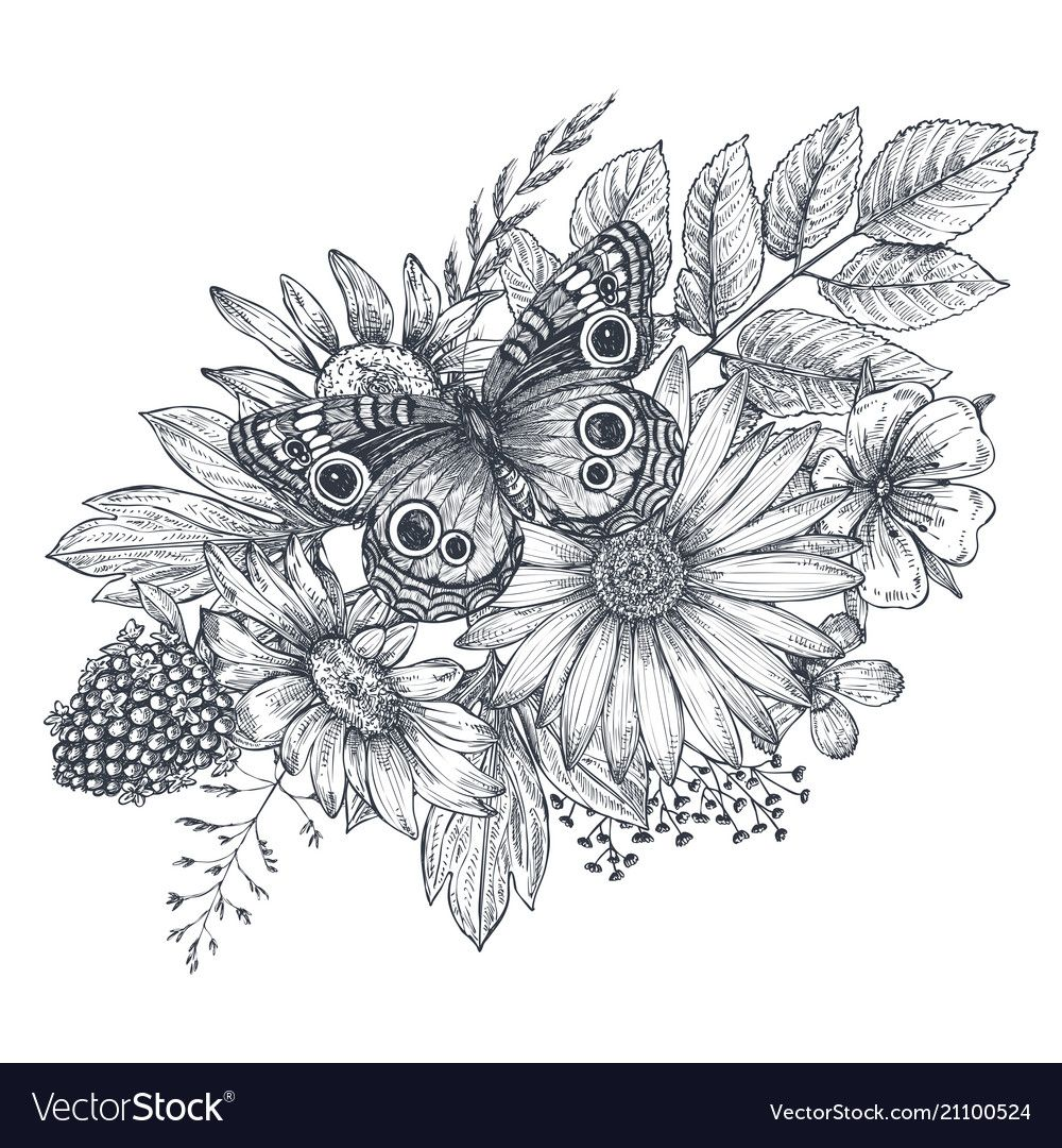 Photo of Wreath with hand drawn flowers leaves and Vector Image