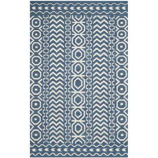 Safavieh Hand Woven Moroccan Reversible Dhurries Dark Blue Ivory Wool Rug X Ping Great Deals On Rugs