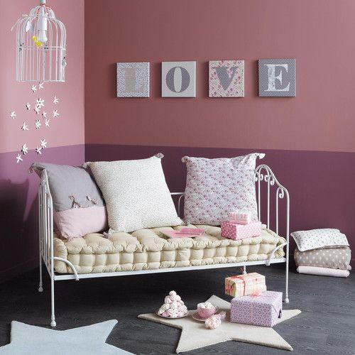 banquette 2 places en coton et m tal ivoire canap lit fer forg pinterest. Black Bedroom Furniture Sets. Home Design Ideas