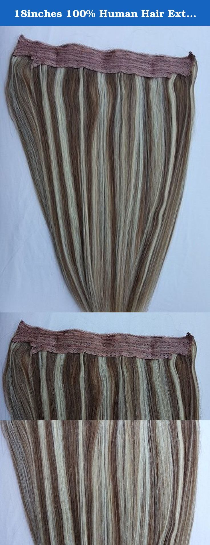 18inches 100 Human Hair Extensions Halo Style One Piece No Clip