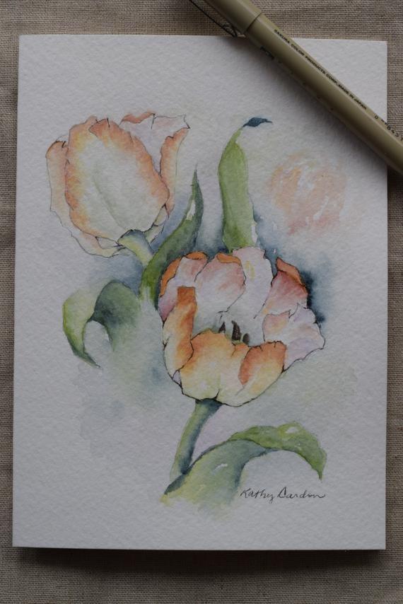 Peach tulips Watercolor Painted Card-original or print | Etsy