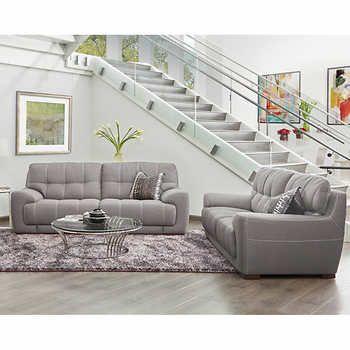 avignon light grey fabric sofa and loveseat living room pinterest rh pinterest it Grey Sectional Sofa Grey Sofa and Loveseat Set