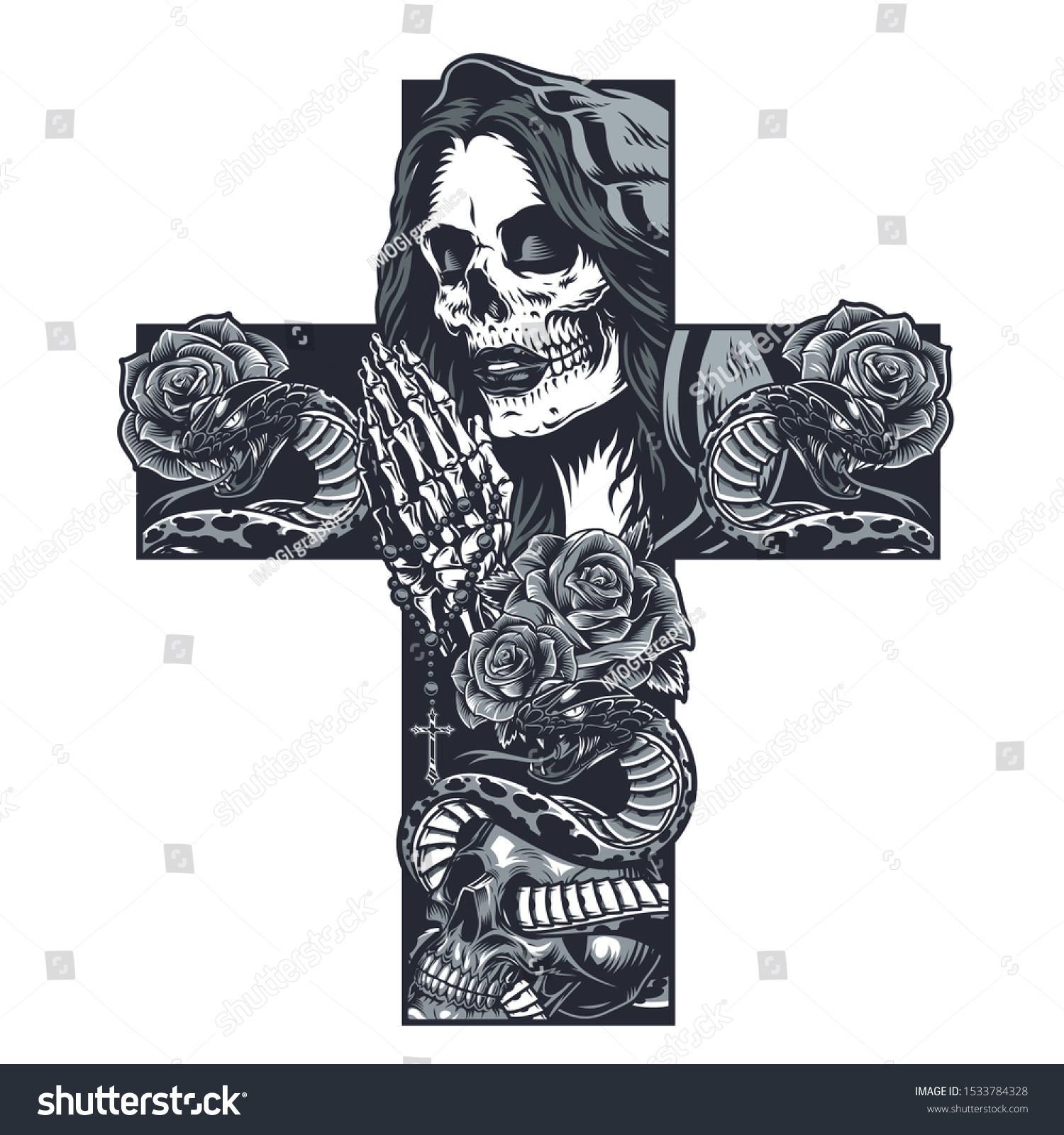 Vintage chicano cross shaped tattoo concept with praying