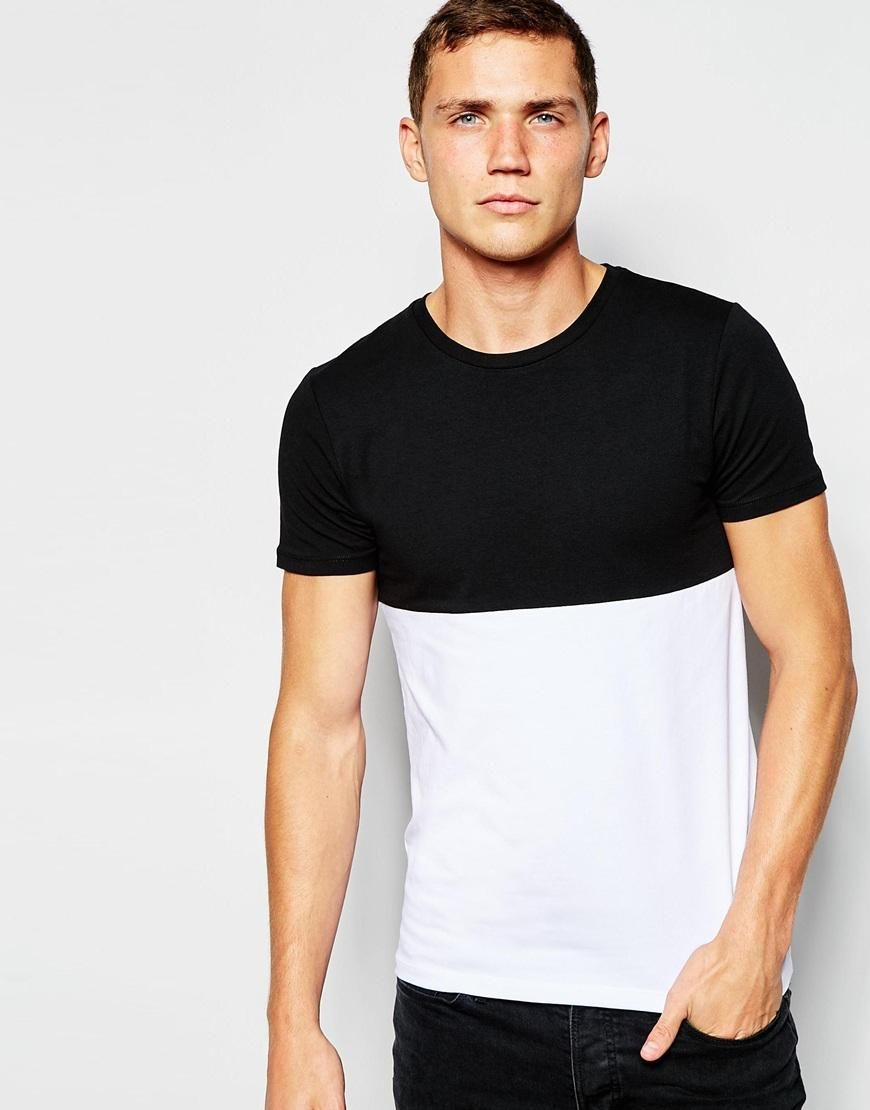 Asos asos muscle fit tshirt with crew neck and contrast
